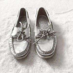 Sperry Top-Sider Silver Metallic Boat Shoes